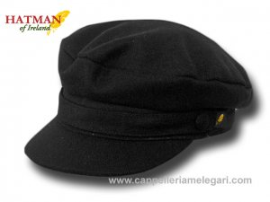 Hatman of Ireland Berretto marinaio panno skipper Melton Nero
