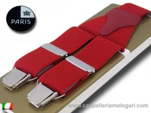 Suspenders wide men Paris Red