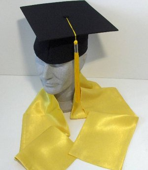 Original Grad Hat Mortarboard and graduation shawl