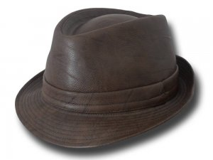 Melegari Italian traditional trilby Jazz faux leather Hat