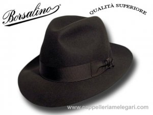 Borsalino Fedora hat Superior Quality brim 6 cm Brown