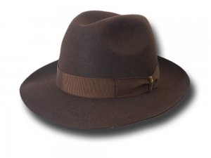 Borsalino Fedora Marengo Hat brim 6,5 cm unlined Brown