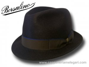 Borsalino trilby jazz hat fur shine felt Brown