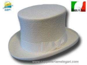 Cappello a cilindro lapin extra Top Quality bianco sposo