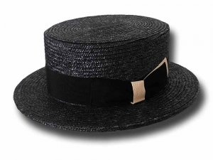 Melegari Boater straw hat Black