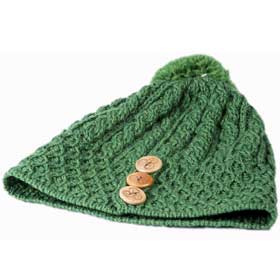 Aran Ladies knit merino wool cap with pompom