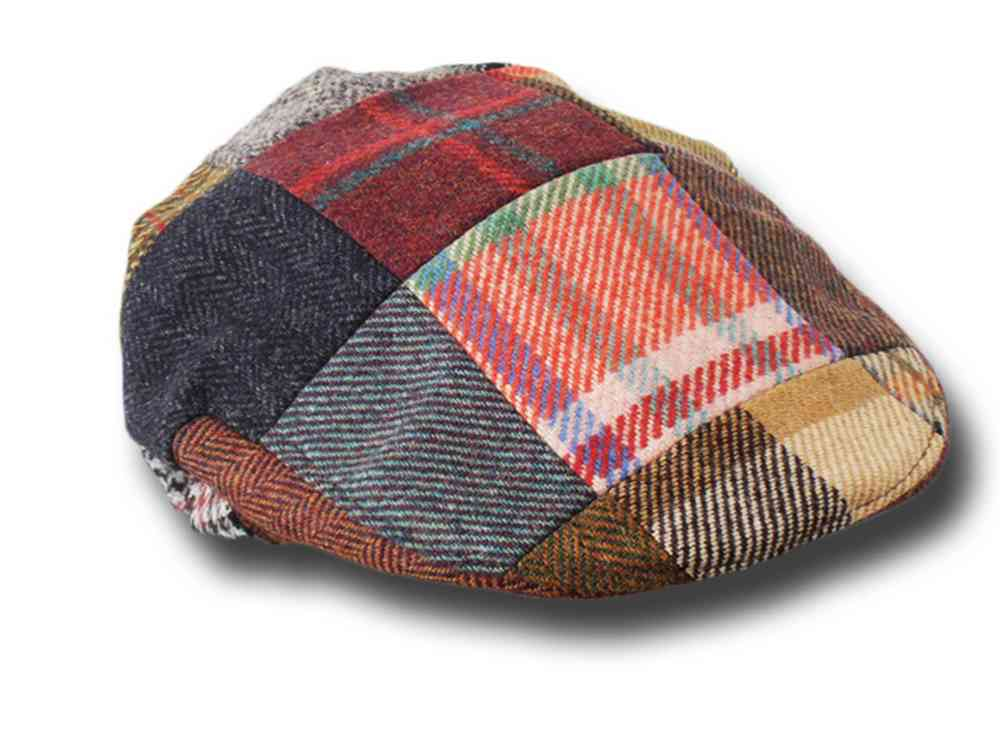 John Hanly Berretto piatto irlandese patchwork tweed cap