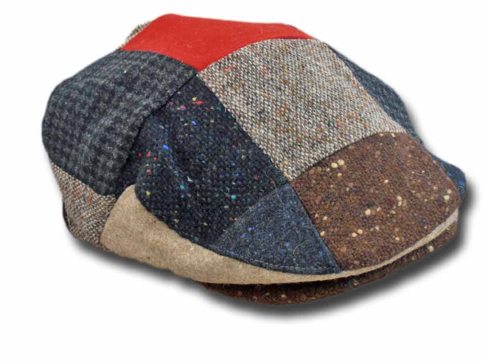 Hatman of Ireland Berretto piatto Donegal tweed Patchwork Rosso