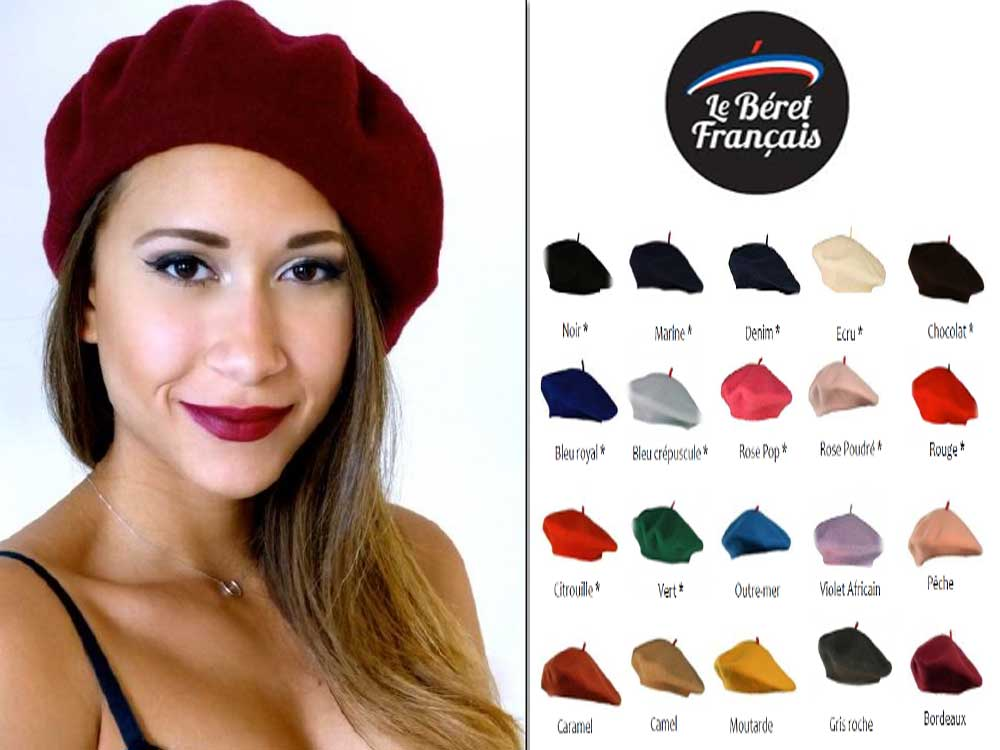 French unisex beret basque wool flat 28 cm