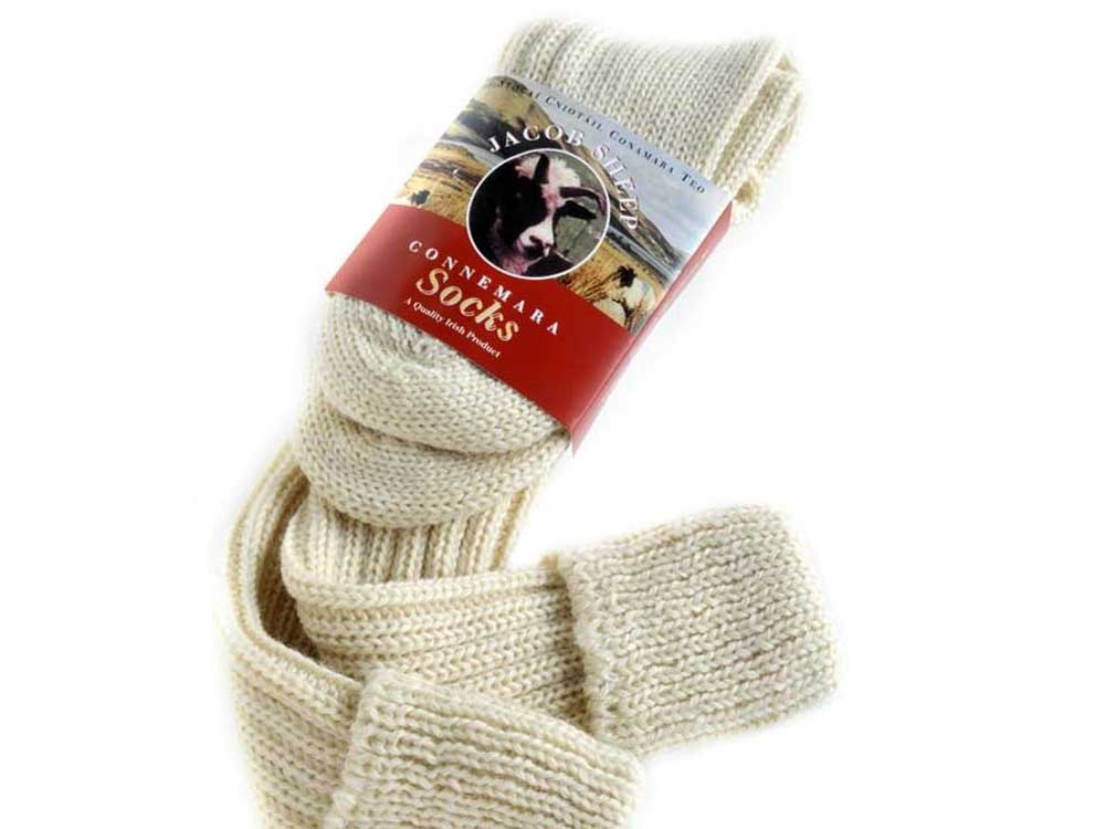 Long stockings wool Jacob Sheep Connemara Whit