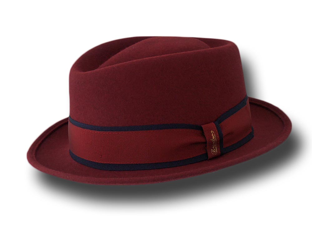 Borsalino Cappello pork pie Diamond nastro rigato Bordò