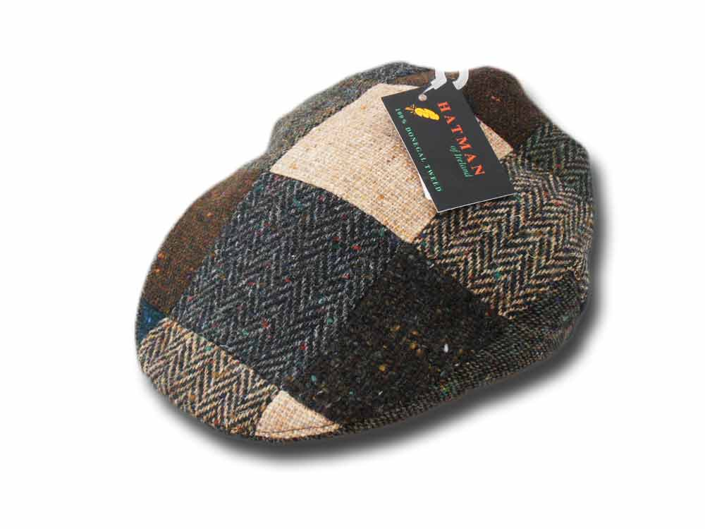 Berretto piatto Donegal tweed Patchwork Hatman