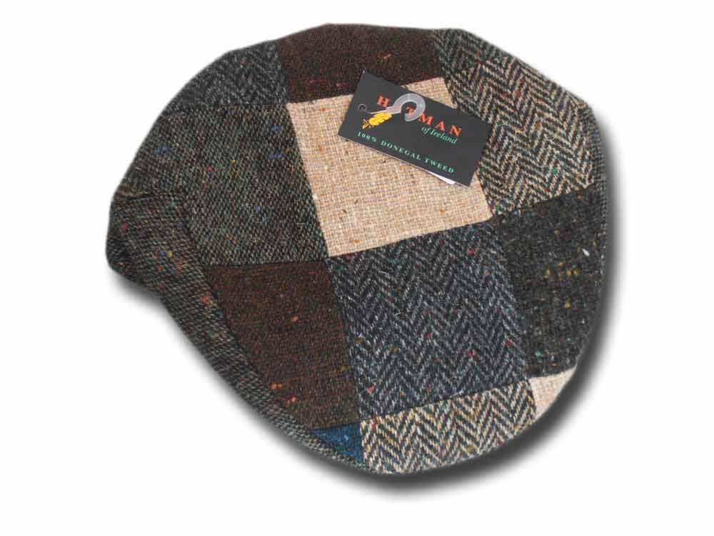 3b13b3c7 Hatman of Ireland Donegal tweed Patchwork flat cap Green [DTPC_verde ...