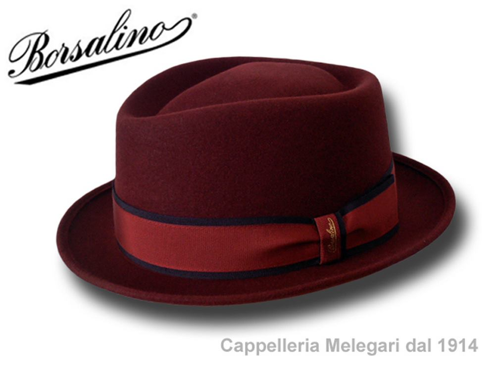 Borsalino pork pie hat man Diamond striped ban