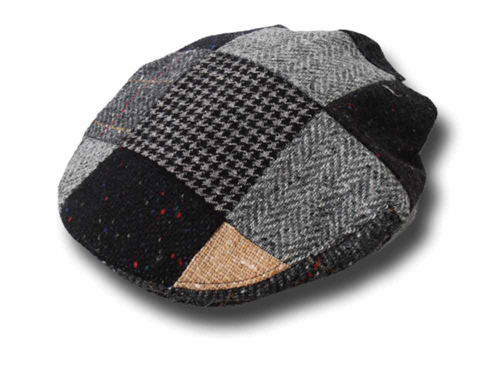 Hatman of Ireland Berretto piatto Donegal tweed Patchwork Grigio