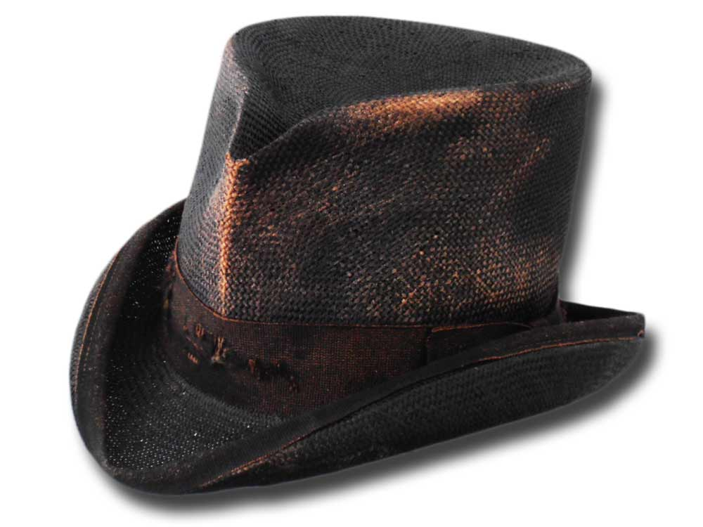 Aged Western Straw Top Hat Black
