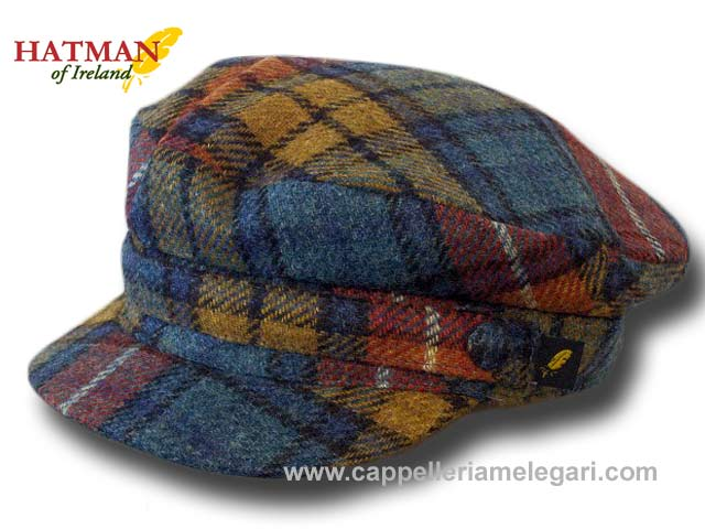 Hatman of Ireland Berretto marinaio tartan tweed skipper Giallo