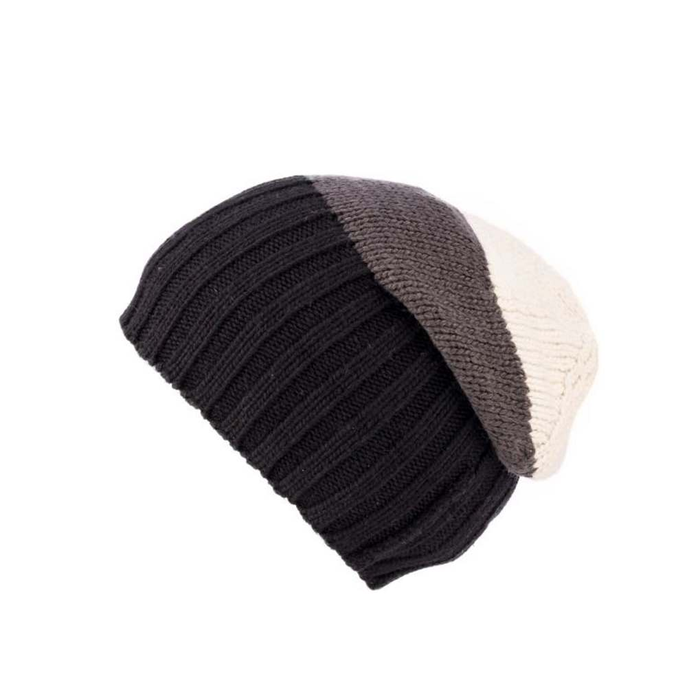 Kusan London Berretto lana merino Black-Grey