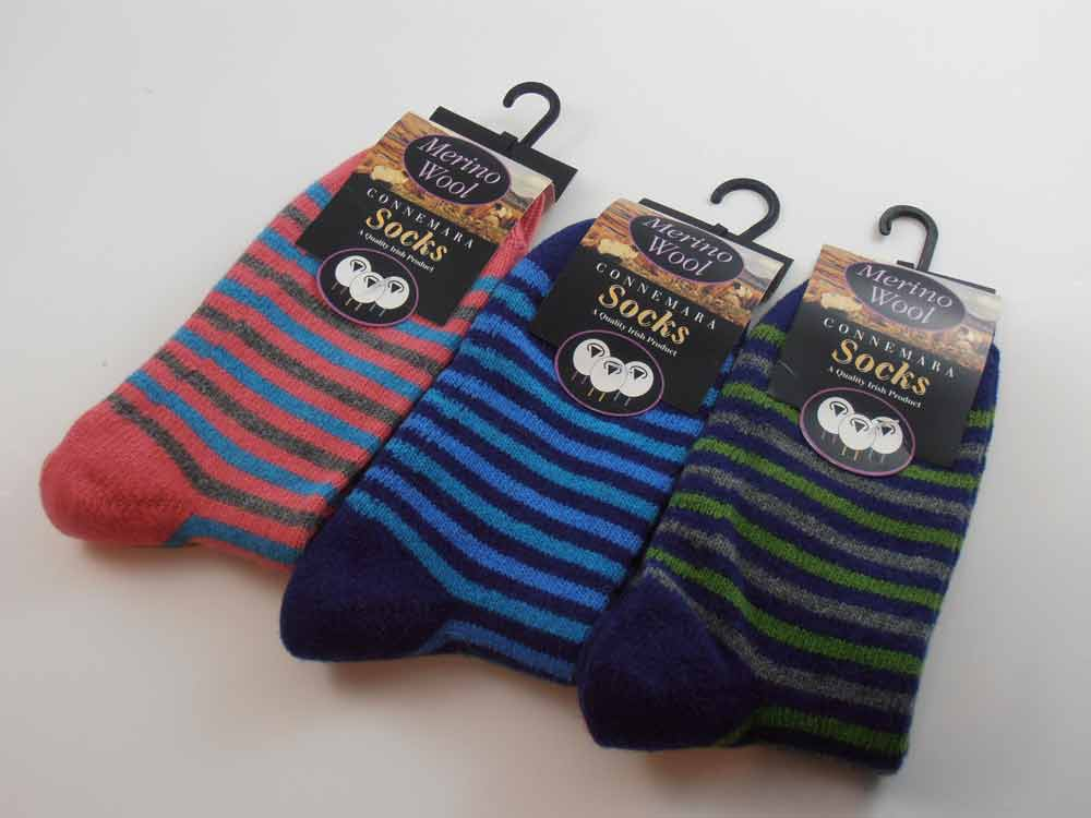 Merino wool Connemara stripes women Socks