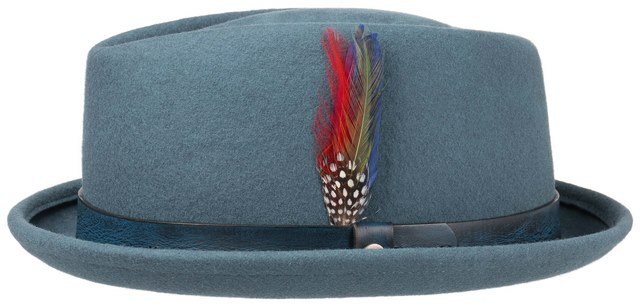 Stetson Cappello pork pie Diamond woolfelt Blu