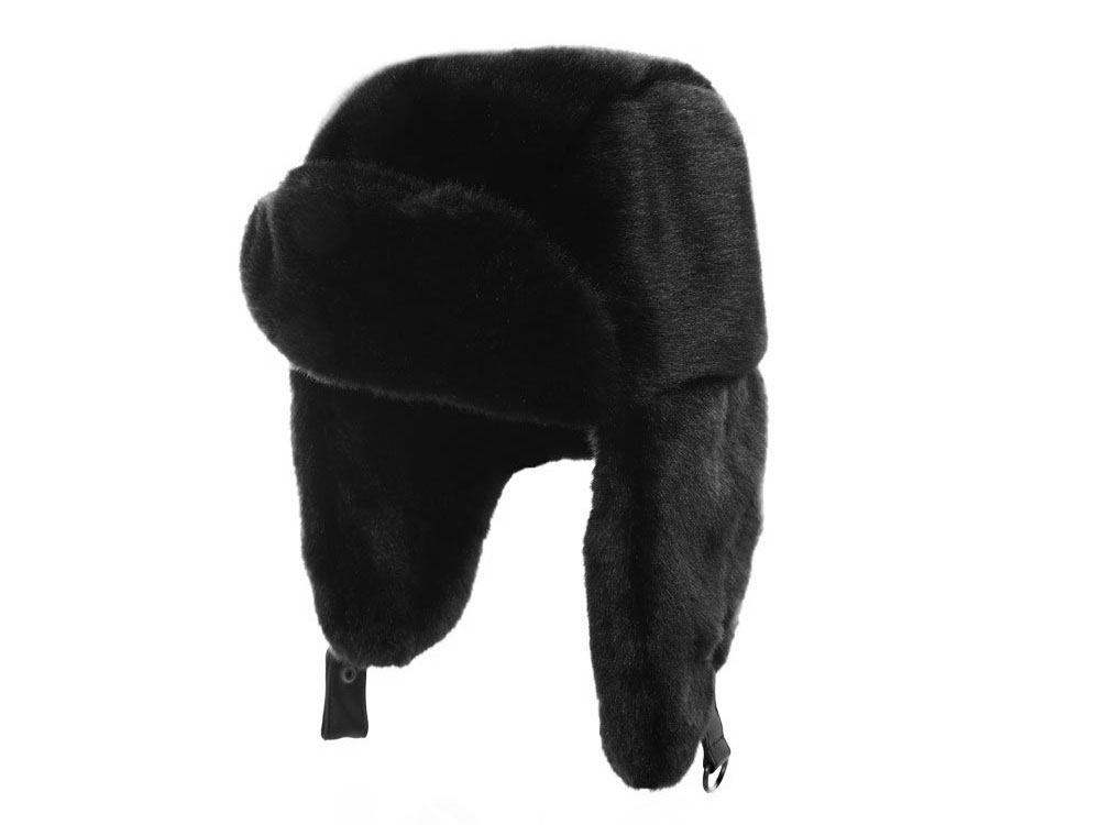 Polar Trapper Hat ecological fur black