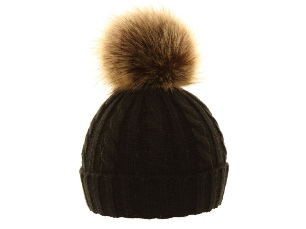 Unisex hat with PomPon ecological fur differen