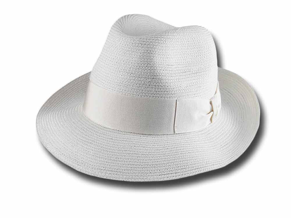 Borsalino 141078 summer hemp fedora hat White