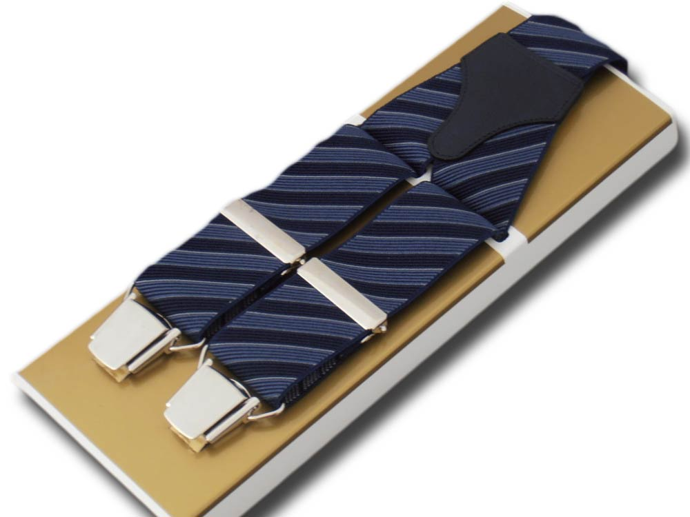 Suspenders wide men Paris stripe two-tone Blue