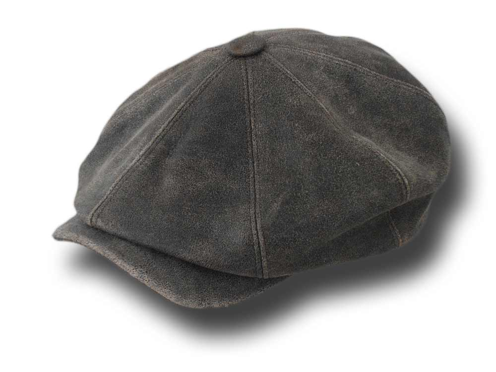 Melegari aged leather gatsby cap Brown Mélang