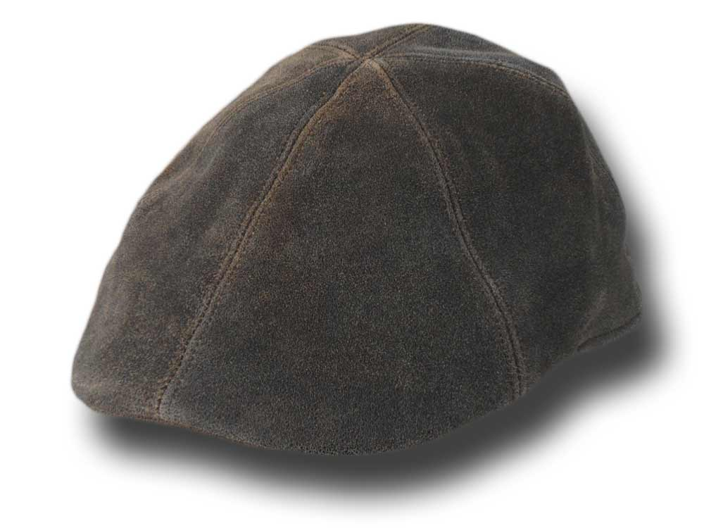 Melegari aged leather cap Brown Mélange