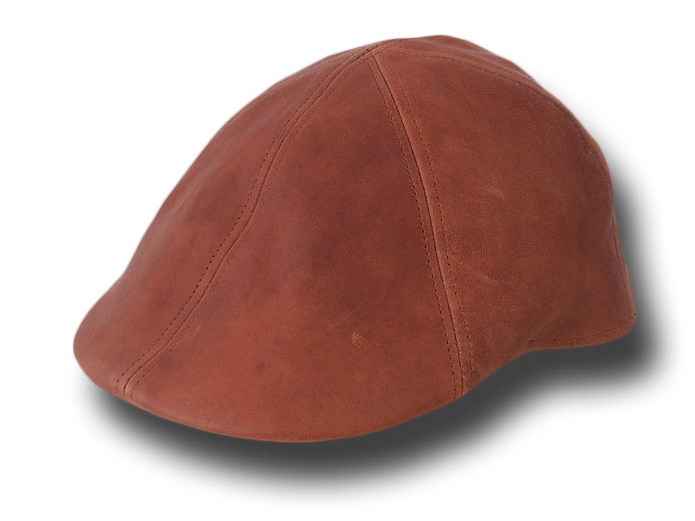 Melegari aged leather cap Light brown