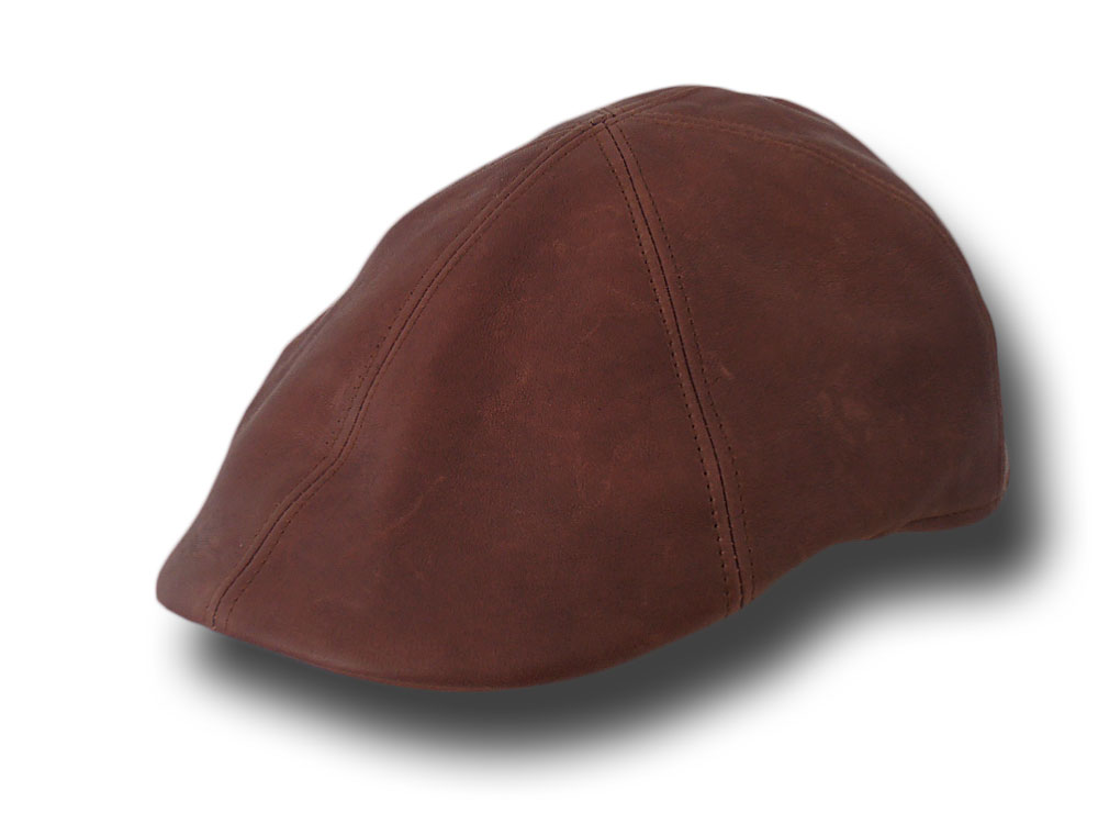 Melegari aged leather cap Brown