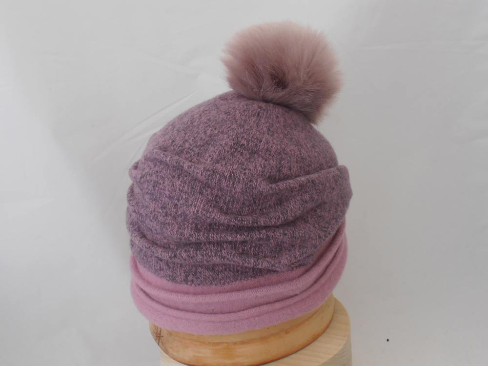 Melegari Wool hat with PomPon ecological fur G