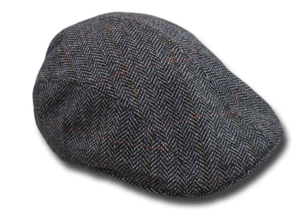 Melegari Wool Herringbone Duck cap Black
