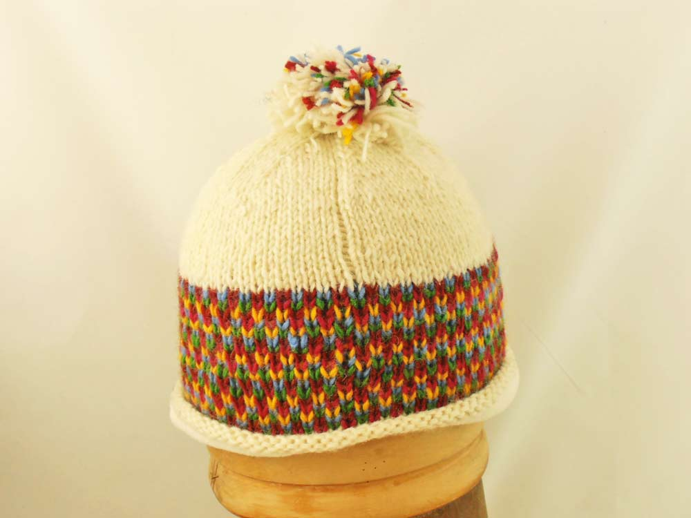 Beanie Hat knitting PomPon Nepal Stripe White