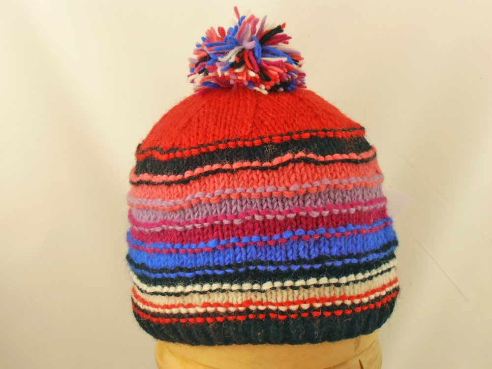 Hut Stricken PomPon Nepal Stripe Red