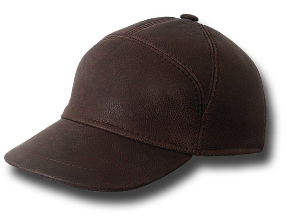 Cap Baseball Bugatti real leather Brown