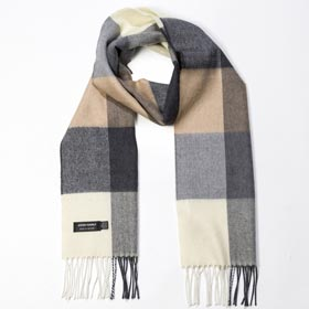 John Hanly Merino wool Checkered scarf