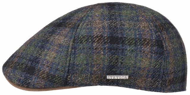 Stetson Texas Check wool-cashmere flatcap Blue