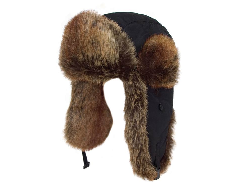 Eco polar Ushanka Black Hat Kunstpelz
