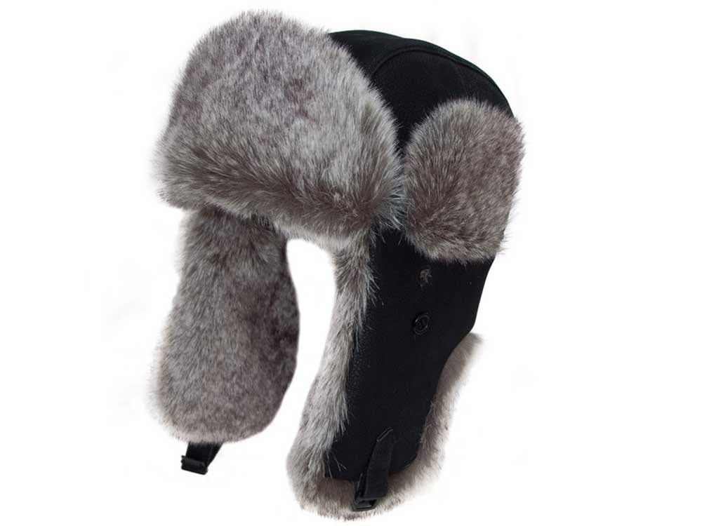 Eco polar pu leather Ushanka Black Hat faux fu