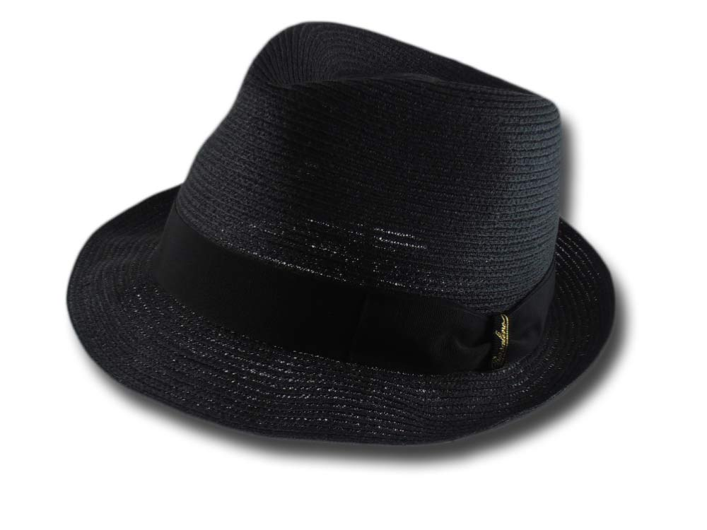 Borsalino 141077 summer hemp trilby hat Black