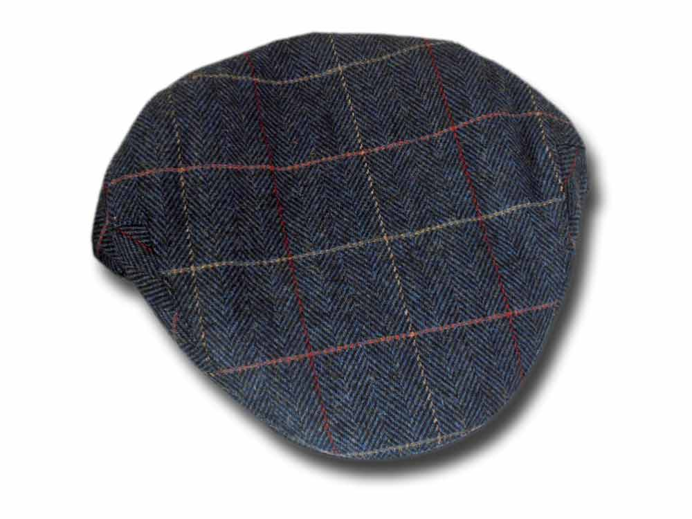 Shandon Herringbone Irish wool flat cap Blue