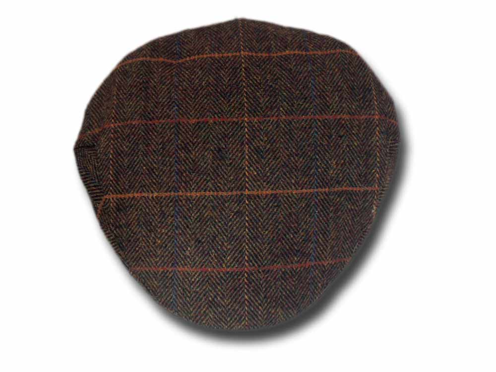 Shandon Herringbone Irish wool flat cap Dark g