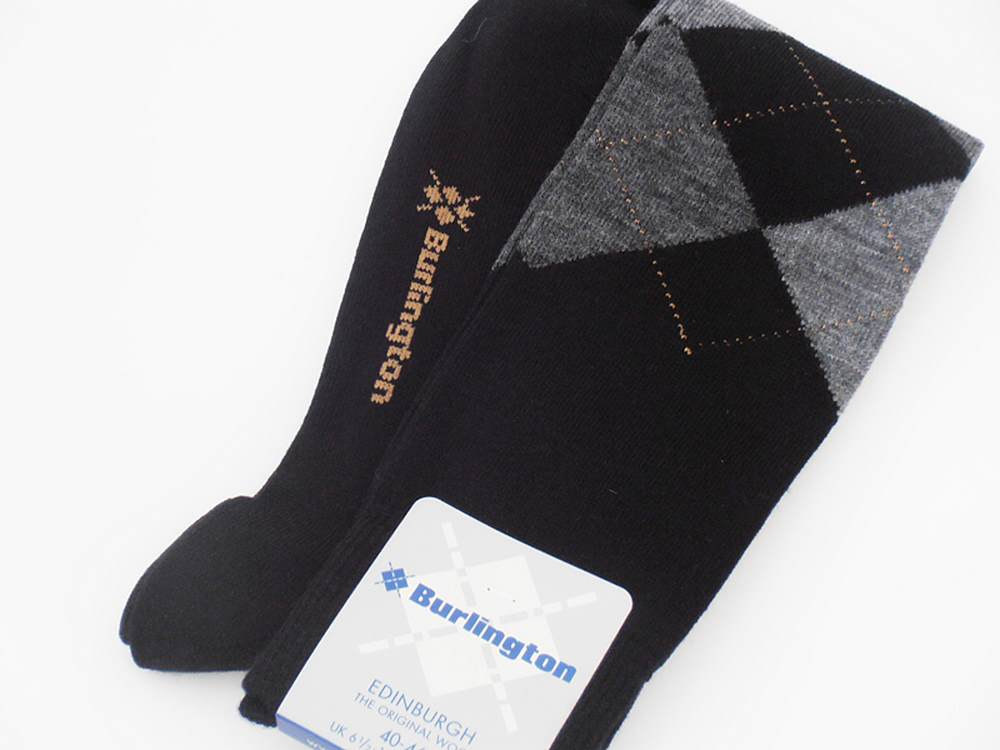 Wollsocken mann Edinburgh Burlington schwarz g
