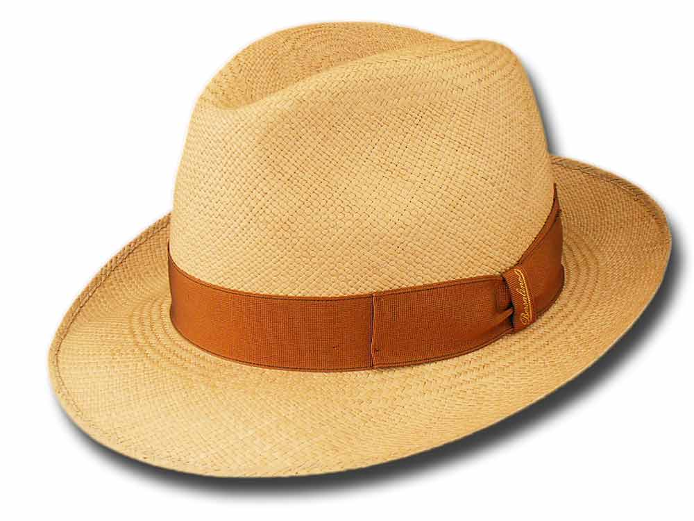 Borsalino 140228 fedora Panama Quito hat 6 cm Light brown