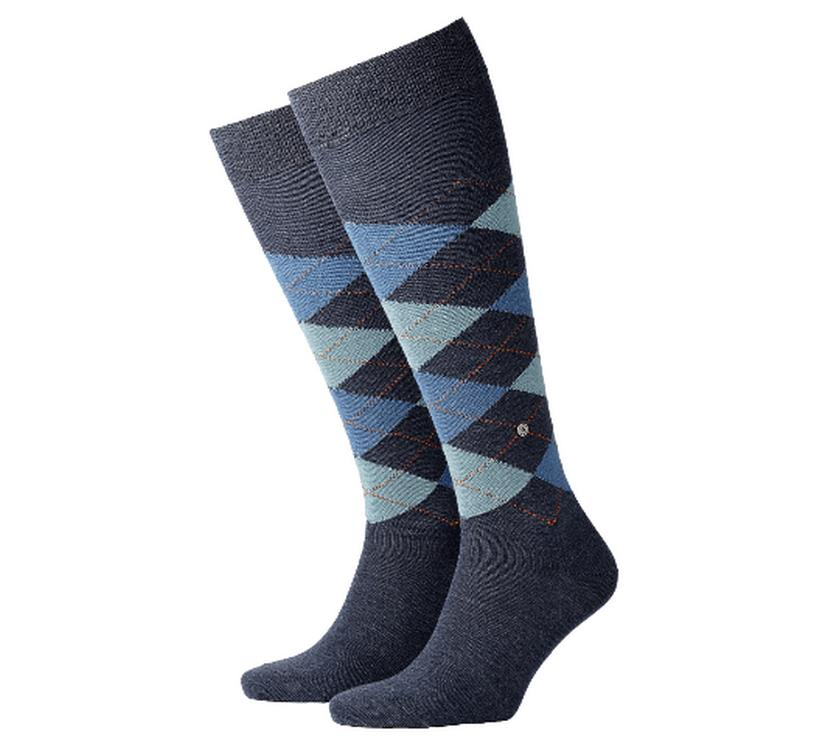 Wool socks man Edinburgh Burlington Blue marin