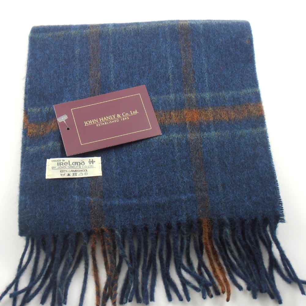 John Hanly Irish Lambswool Schal Blau