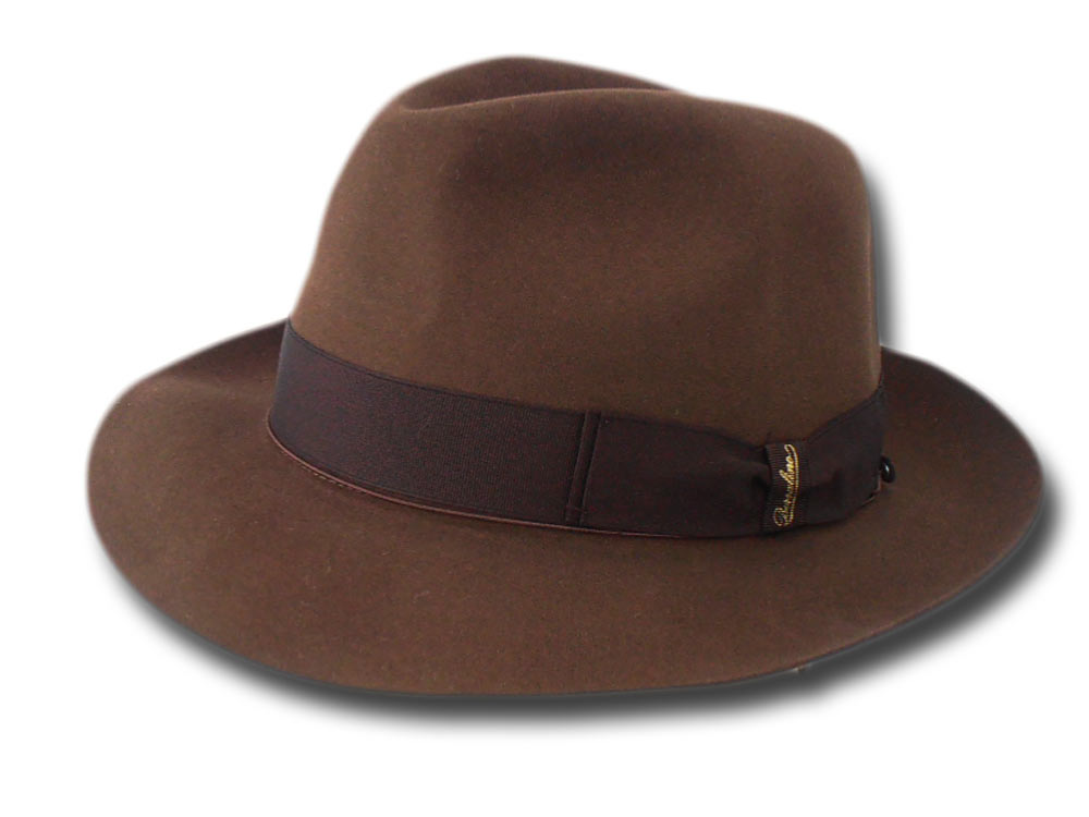 Borsalino Fedora  Beaver hat with hatbox Brown