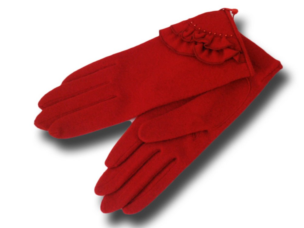 Gloves woman wool Rouge with beads Vincent Pra